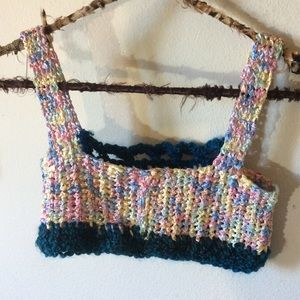 Vintage Tops - Rainbow Handmade Crochet Crop Top Bralette